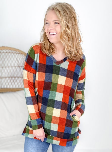 PLUS/REG Olive & Orange Plaid Long Sleeve Top