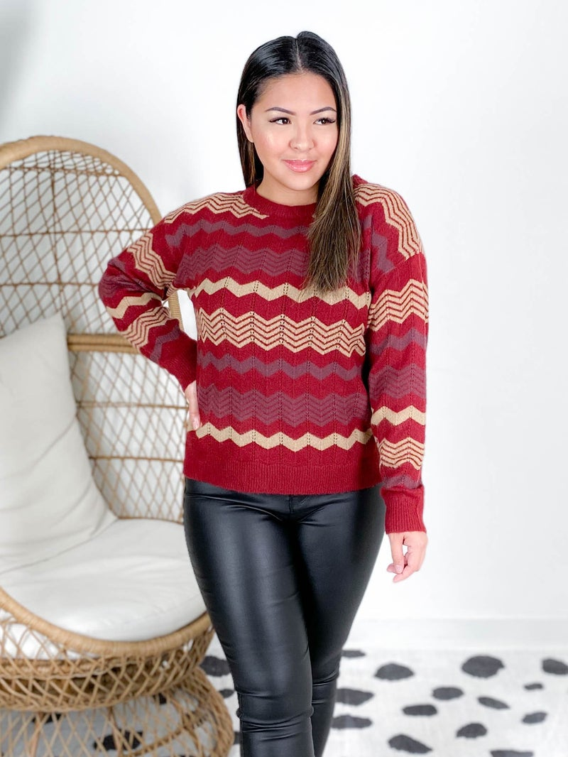 POPPY DAY Burgundy & Cream Chevron Sweater