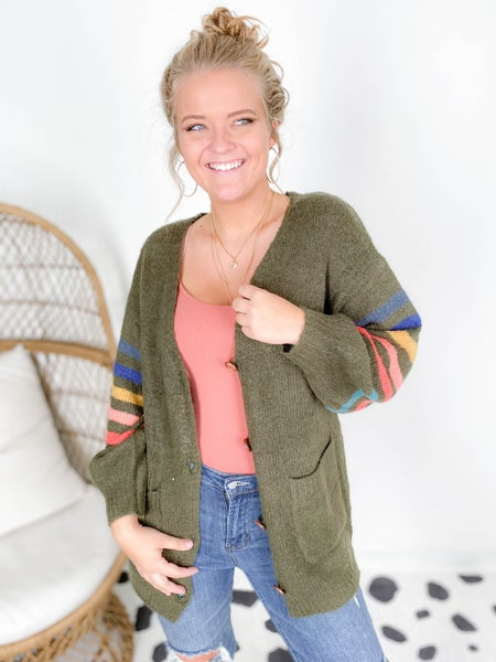 Cozy Striped Sleeve Button Down Cardigan (Multiple Colors)
