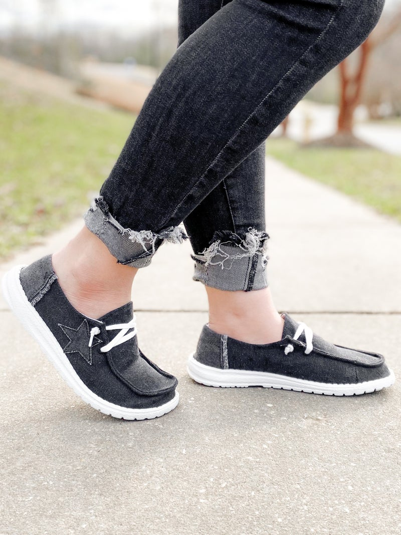 Hey Girl Black Slip On Sneakers With Star Detail