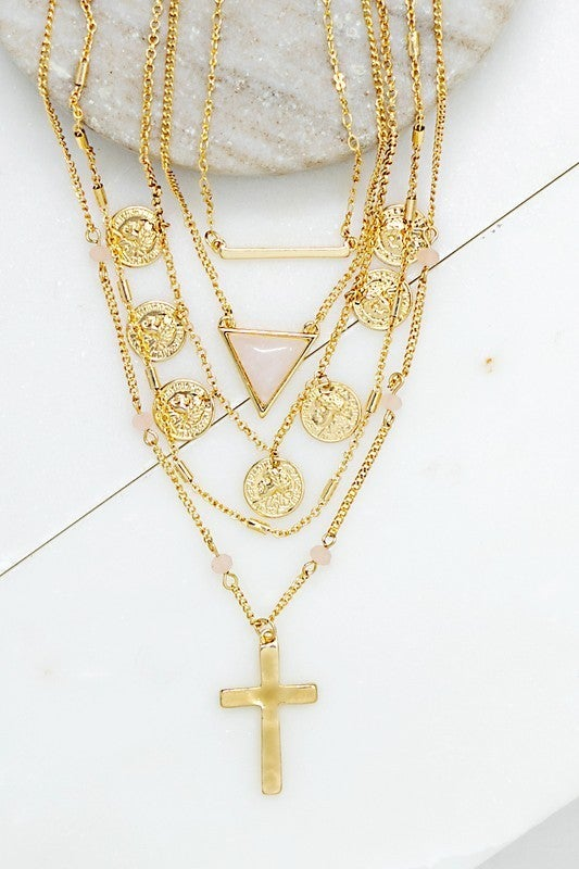 Gold 5 Layer Necklace with Coins, Rose Quartz Triangle and Cross Pendant