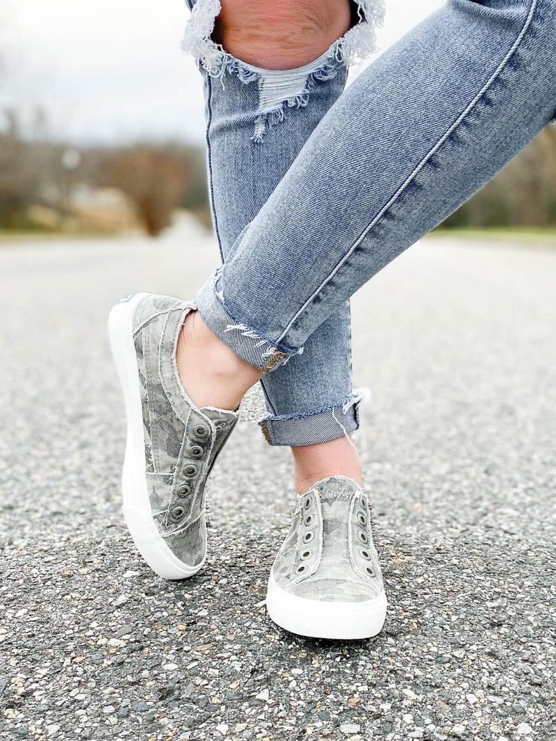 Blowfish Grey Splatter Camouflage Distressed Unlaced Sneakers