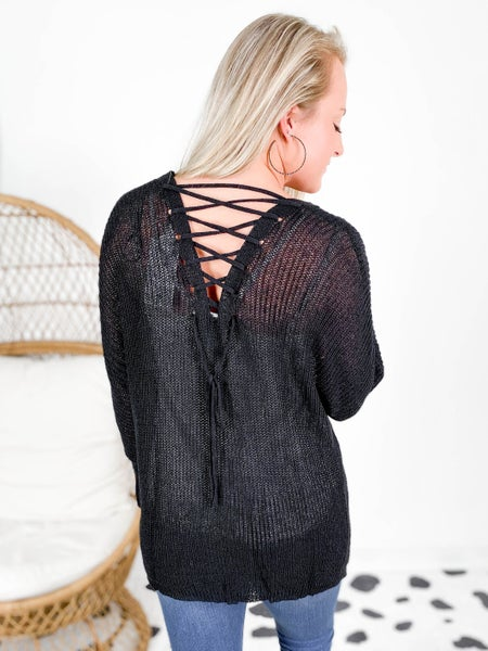 Lace Up Back Knit Cardigan