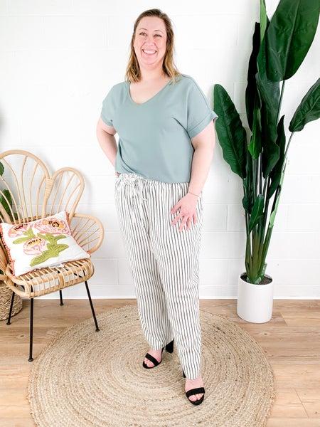 PLUS/REG White & Black Striped Paper Bag Pants