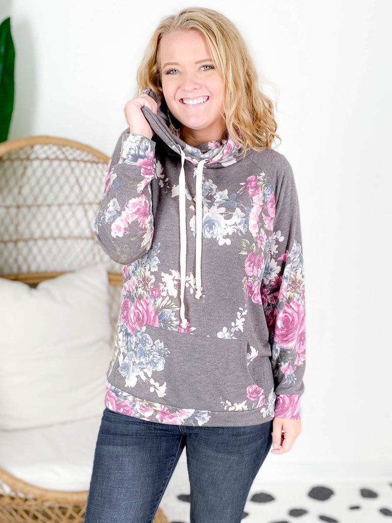 PLUS/REG Honeyme Floral Top With Drawstring Cowl Neck Detail