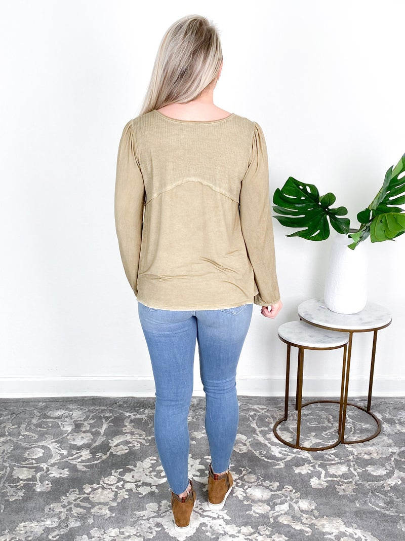 POL Solid Knit Top With Ribbed Detail (Multiple Colors)
