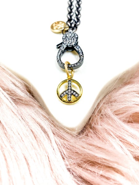 "Karli Buxton .75"" Gold & Gunmetal Pavé Peace Sign Pendant"