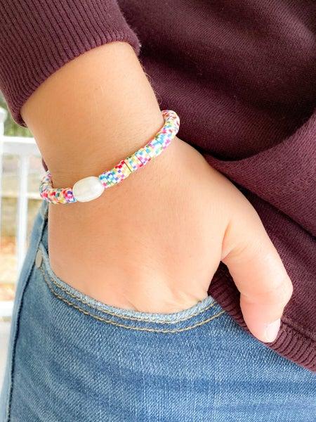 Rainbow Bright Pearl Clay Resin Beaded Bracelet