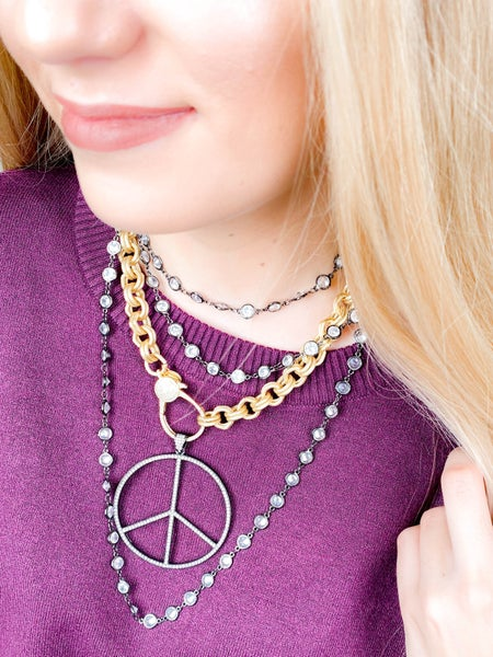 RESTOCK!!! Karli Buxton Pave Peace Sign Pendant (Multiple Colors)