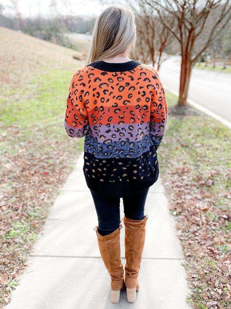 Leopard Color Block Open Sweater Cardigan