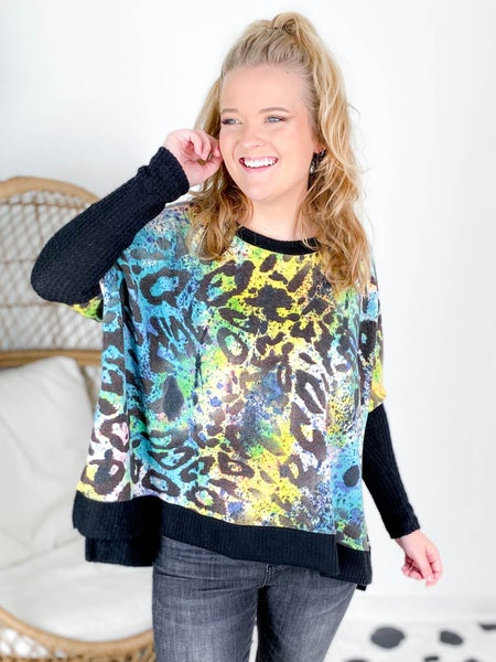 Plus/Reg Long Sleeve Black and Multi Colored Leopard Sweater