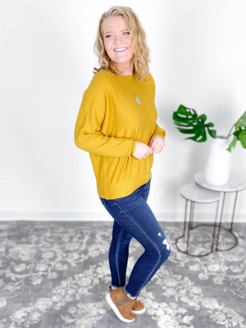 Mix Texture Dolman Sleeve Sweater Top (Multiple Options)