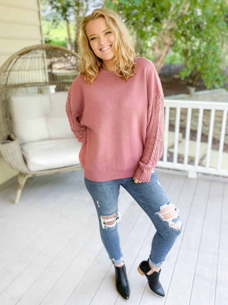 Pullover Cable Detail Sleeve Sweater (Multiple Colors)