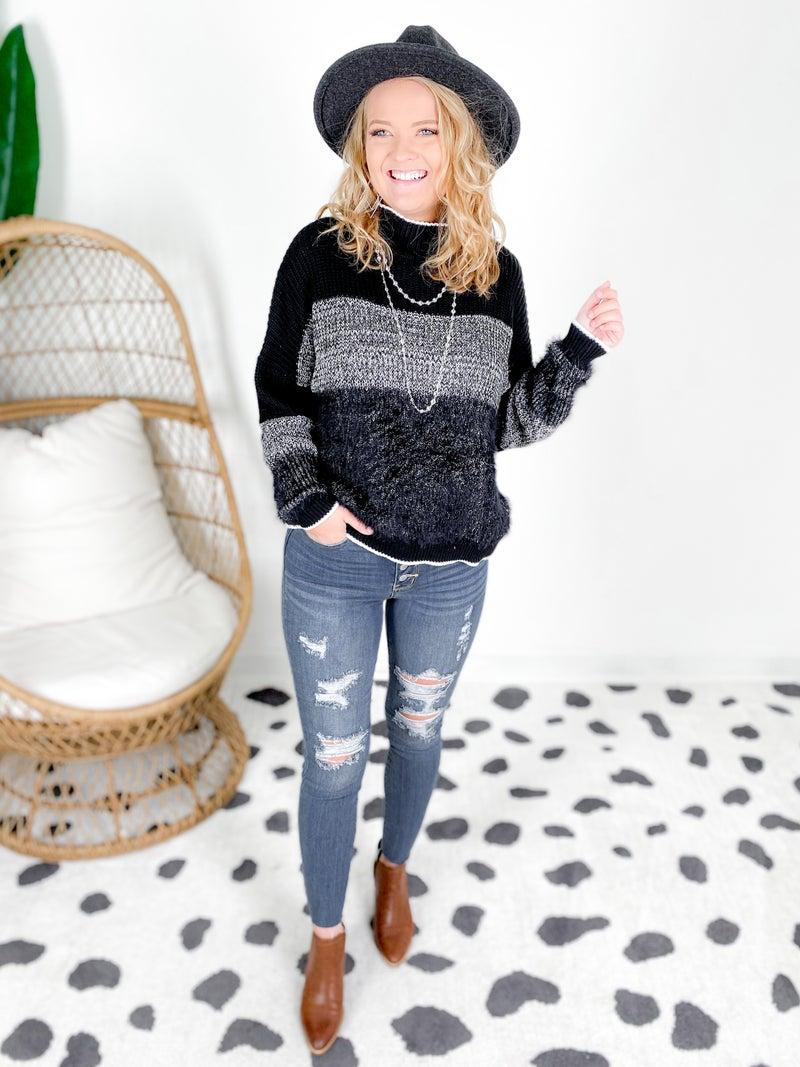 Fuzzy Black & White Colorblock Sweater