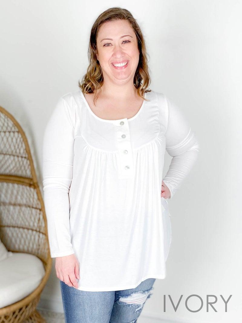 Door Buster!! PLUS/REG Zenana Henley Button Neckline Top with Shirring (Multiple Colors)