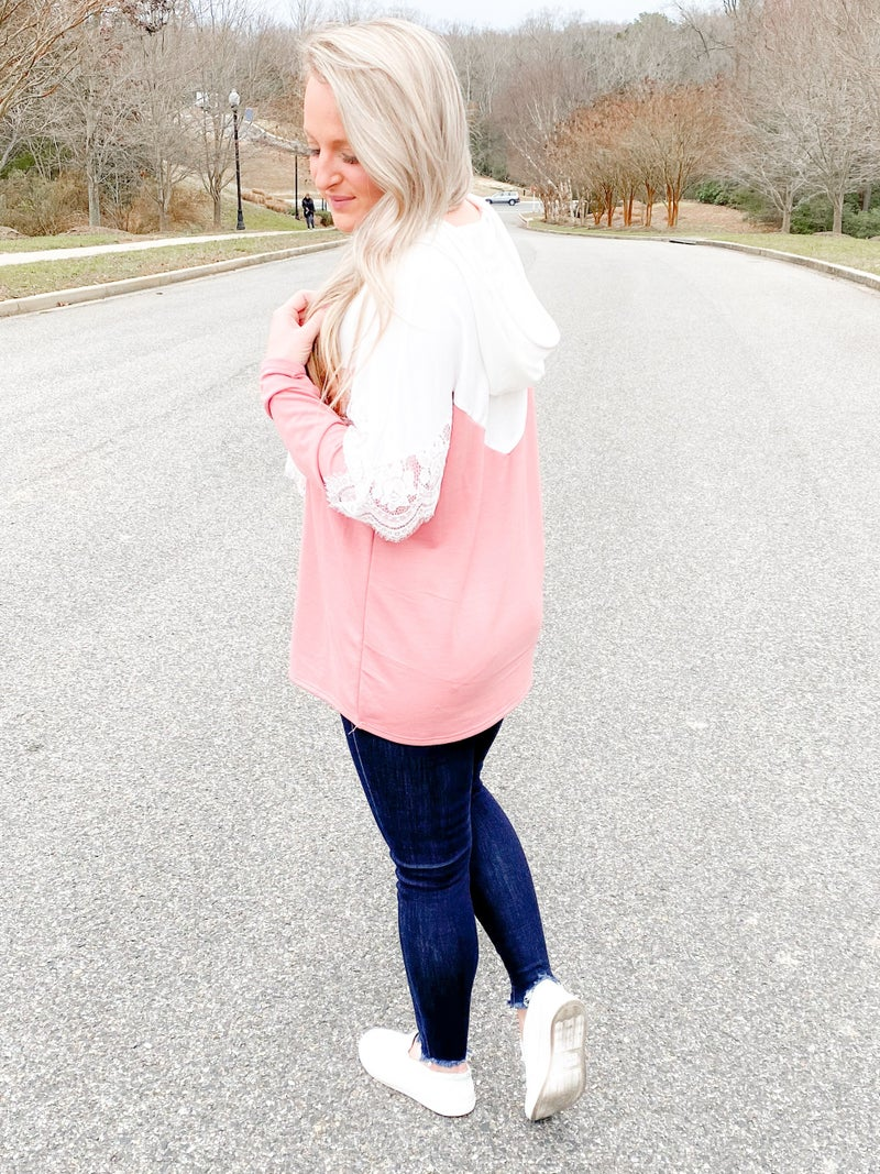 French Terry Hoodie Top With Lace Detail (Multiple Colors)
