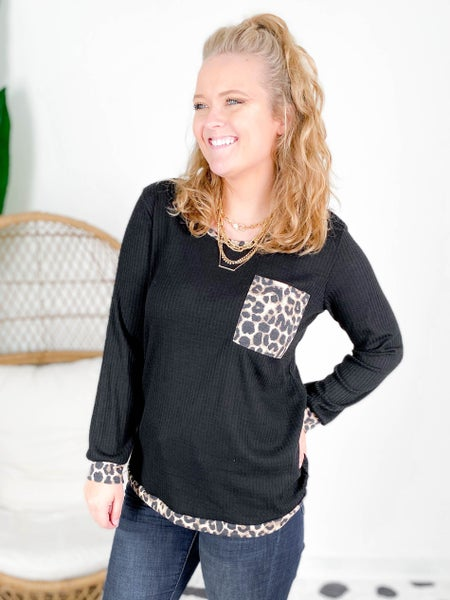 PLUS/REG Waffle Knit Top With Leopard Trim Detail (Multiple Colors)