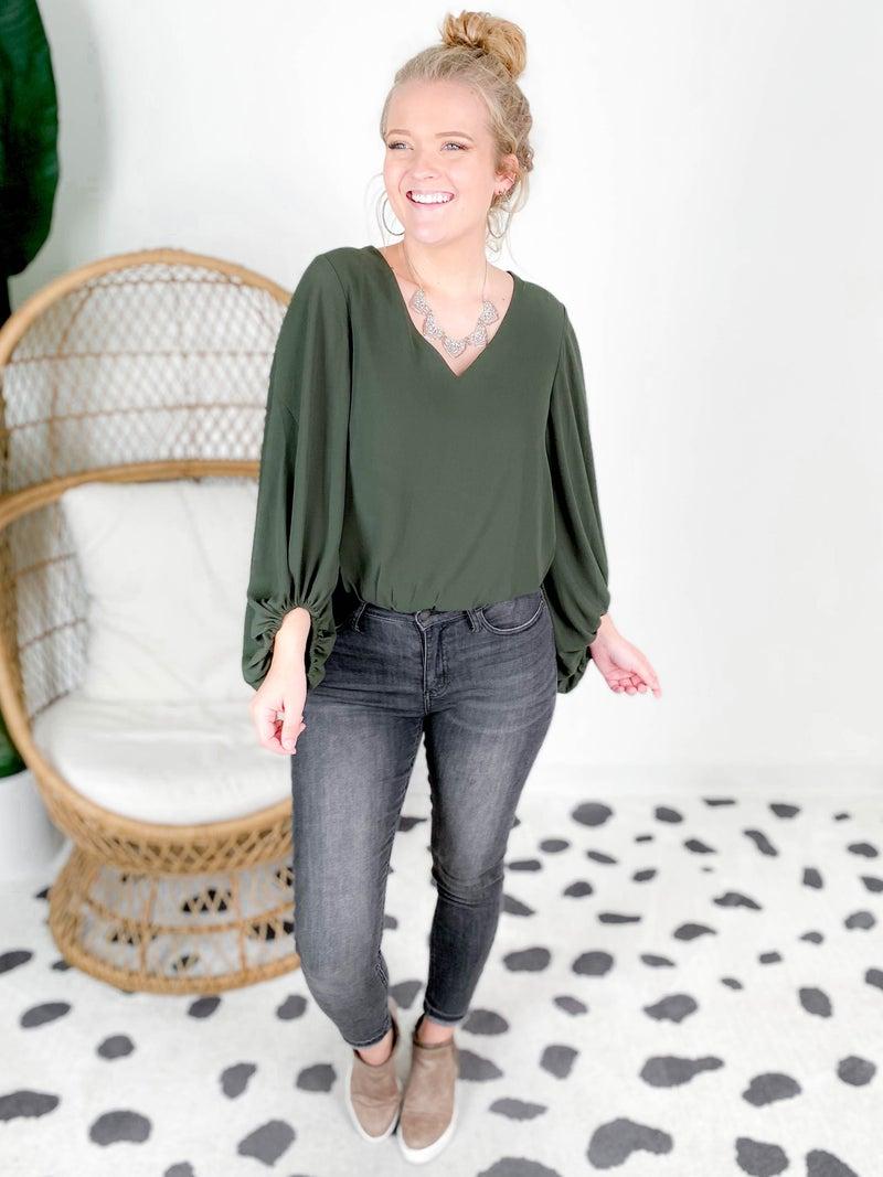 Chiffon Bubble Sleeve Bodysuit (Multiple Colors)