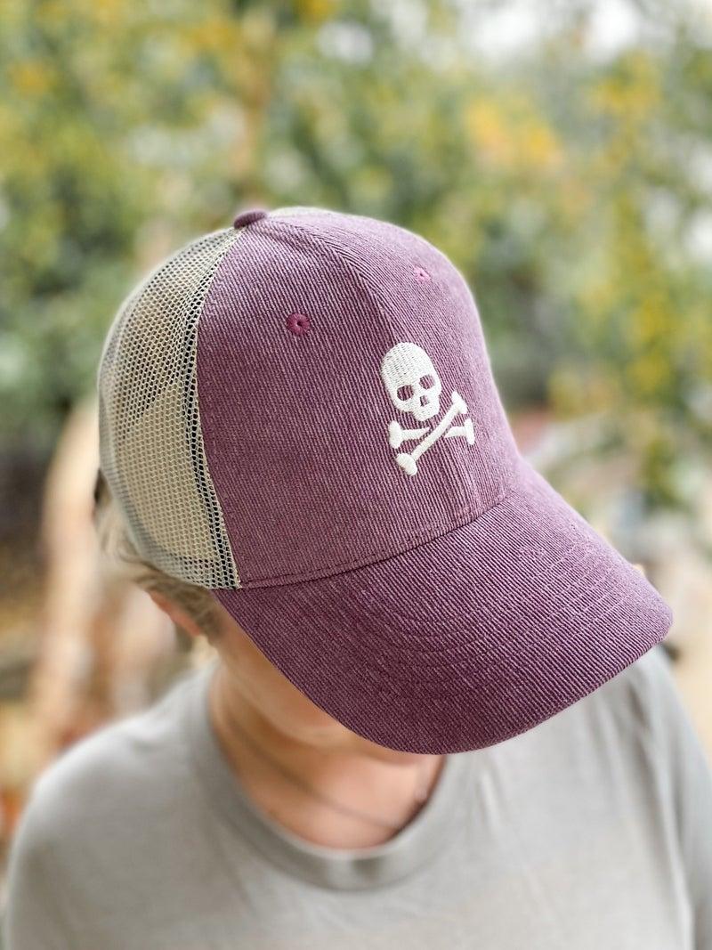 Skull and Crossbones Corduroy Trucker Hat