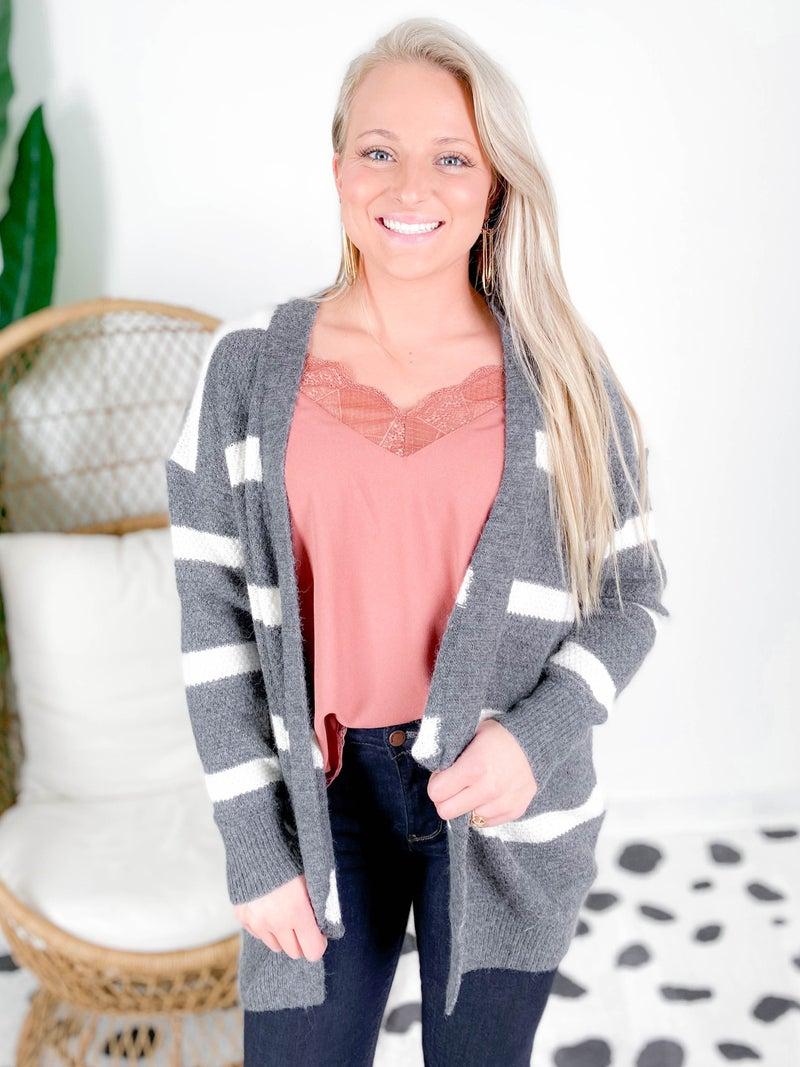 Stripe Open Front Cardigan (Multiple Colors)