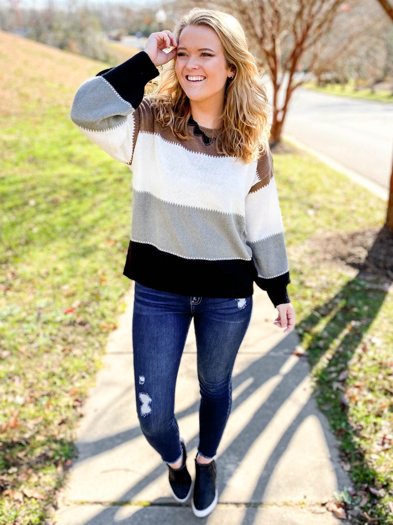 Taupe Multi Color Round Neck Color Block Sweater