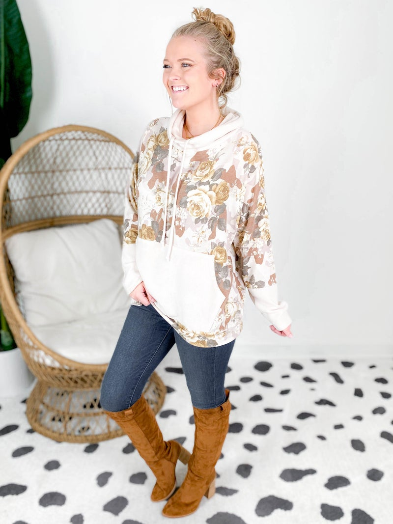 Soft Brushed Turtle Neck Top with Front Pocket