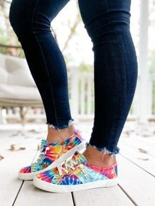 SURPRISE !! Rainbow Tie Dye Blowfish Sneakers With Zipper Detail