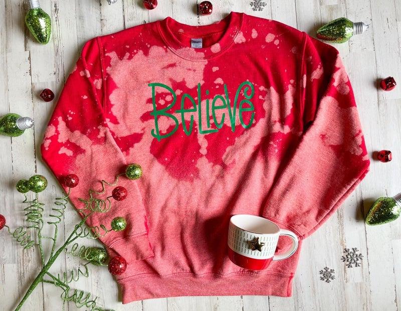 believe sweatshirt bleached