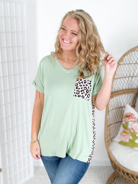 PLUS/REG Sage & Leopard Print Pocket Top with Rolled Sleeves