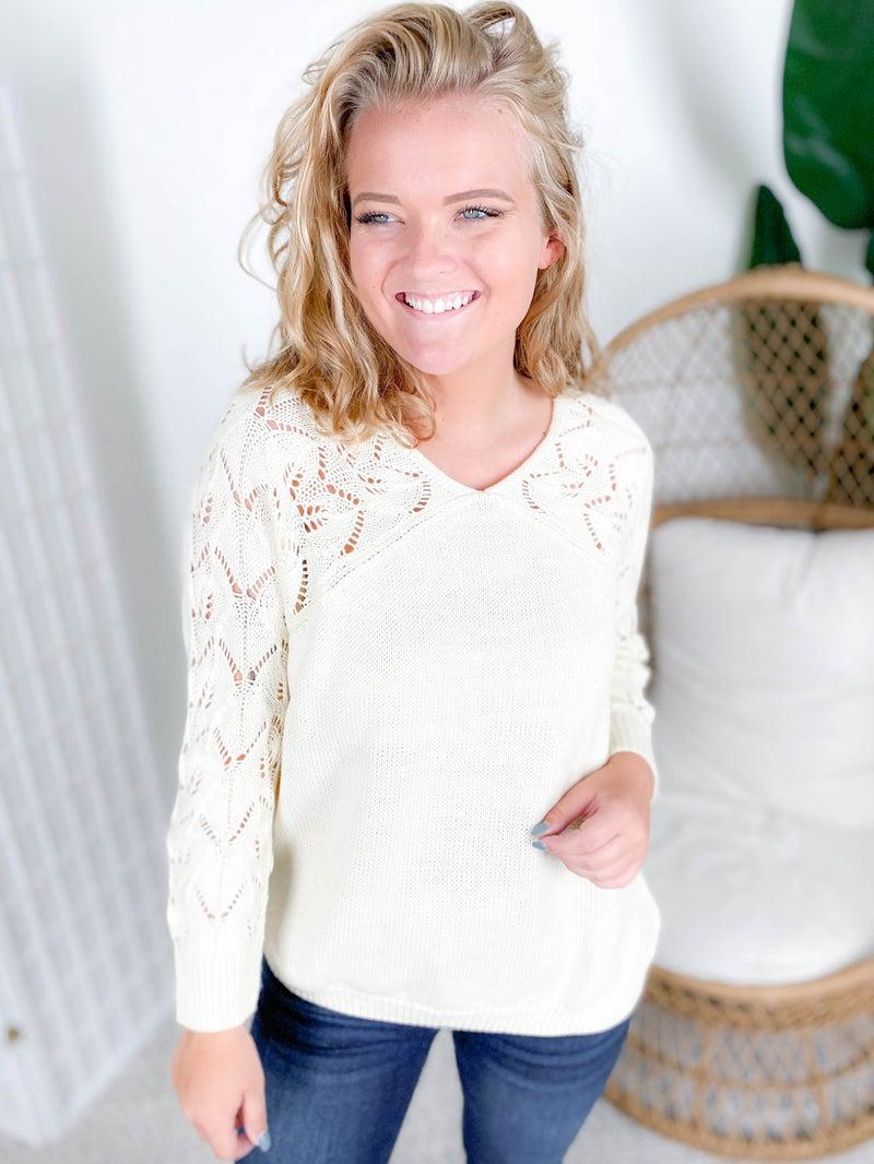 PLUS/REG Open Knit Sleeve Sweater (Multiple Colors)
