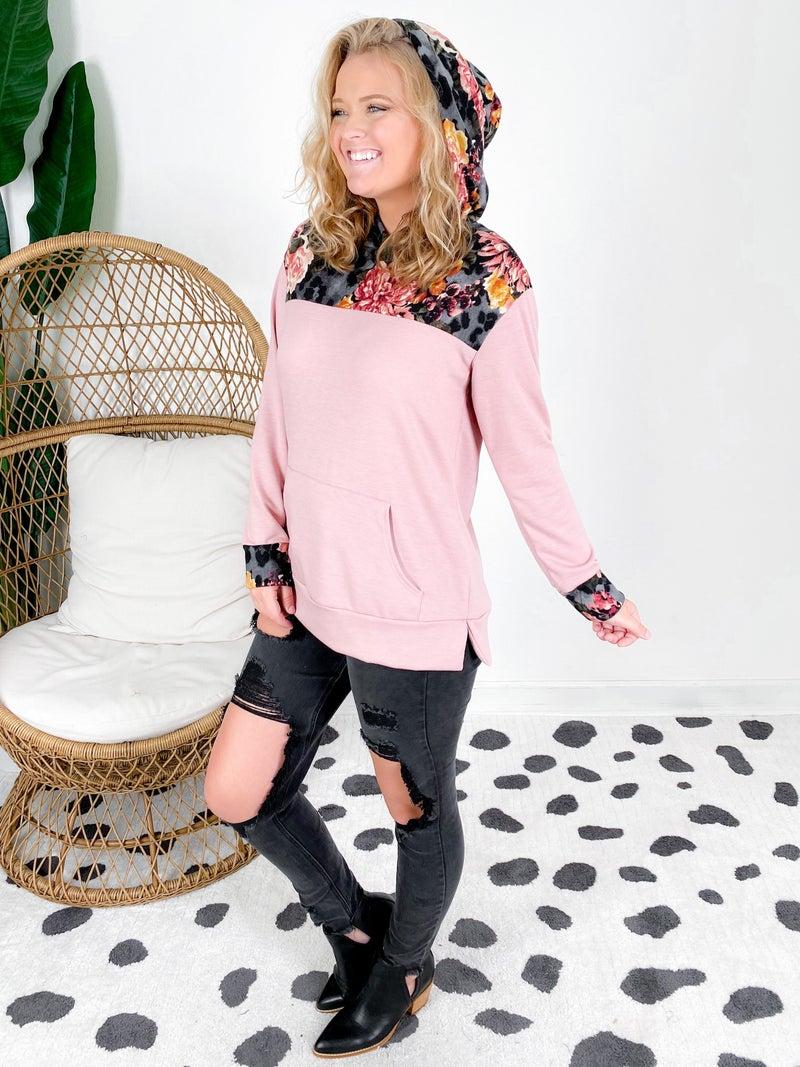 PLUS/REG Honeyme Mauve Floral Color Block Hooded Top
