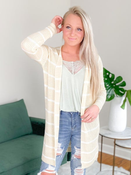 Long Sleeve Stripe Open Front Cardigan (Multiple Colors)