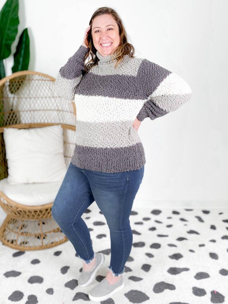 Door Buster!! Color Block Popcorn Turtleneck Sweater (Multiple Colors)