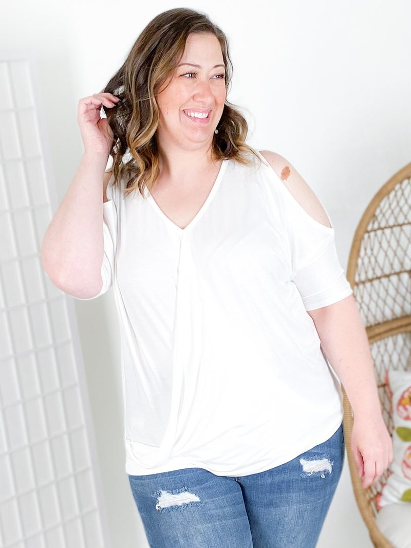 DOORBUSTER !!! PLUS/REG Cold Shoulder Wrap Top with Twisted Front Hem (Multiple Colors)