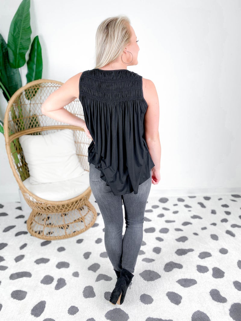 Smock Neck Sleeveless Top (Multiple Colors)