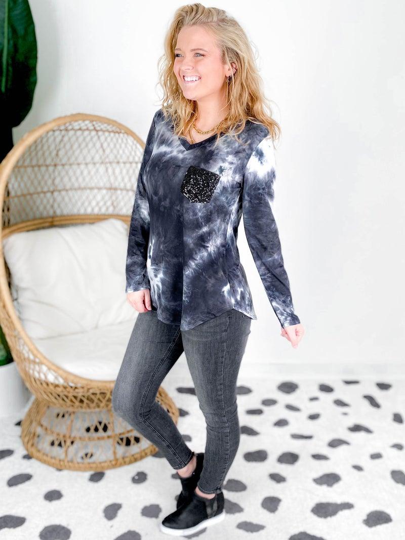 PLUS/REG Black And Navy Tie Dye Top With Black Sequin Pocket