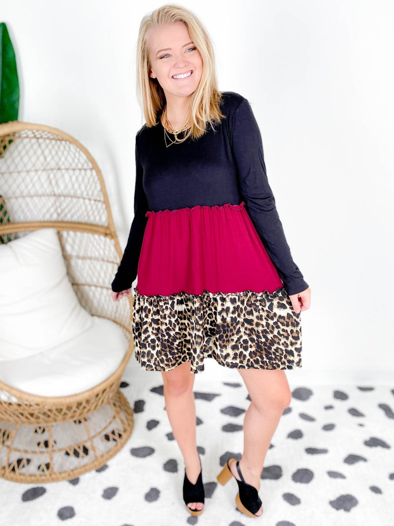 PLUS/REG Long Sleeve Leopard & Burgundy Colorblock Dress