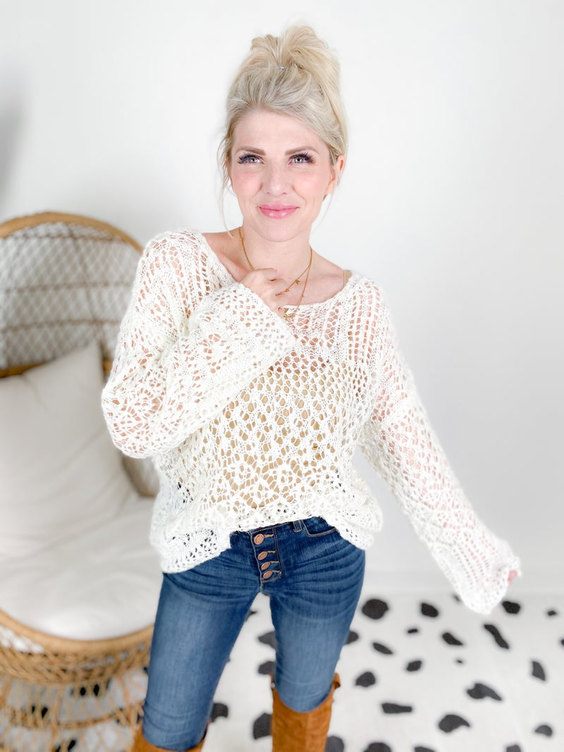 Open Knit Shine Sweater (Multiple Colors)
