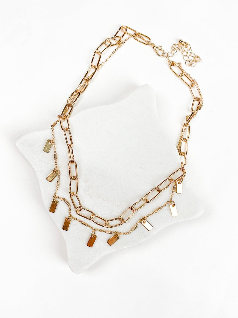 Gold Two Row Chunky Chain Necklace with Rectangular Drops