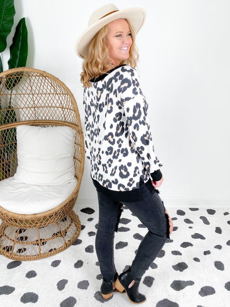 PLUS/REG Honeyme Ivory Leopard Top