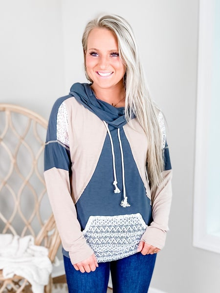 Long Sleeve Funnel Neck Color Block Top With Lace Detail