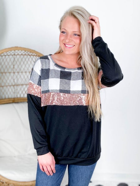Long Sleeve Solid & Plaid Top With Sequin Detail (Multiple Colors)