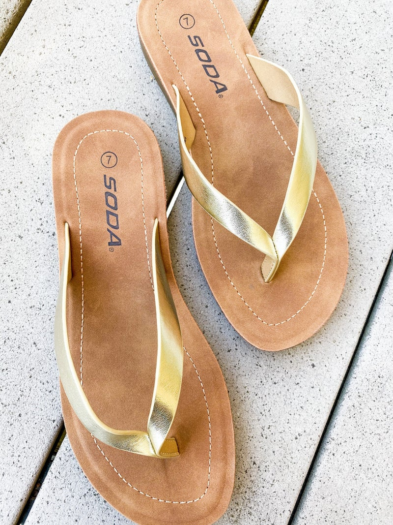 Super Comfortable Gold Metallic Flip Flops
