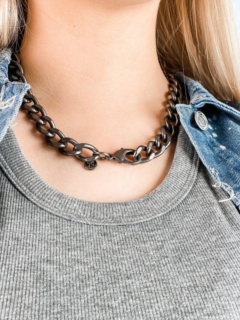 Karli Buxton Chunky Flat Curb Chain (Various color/lengths)