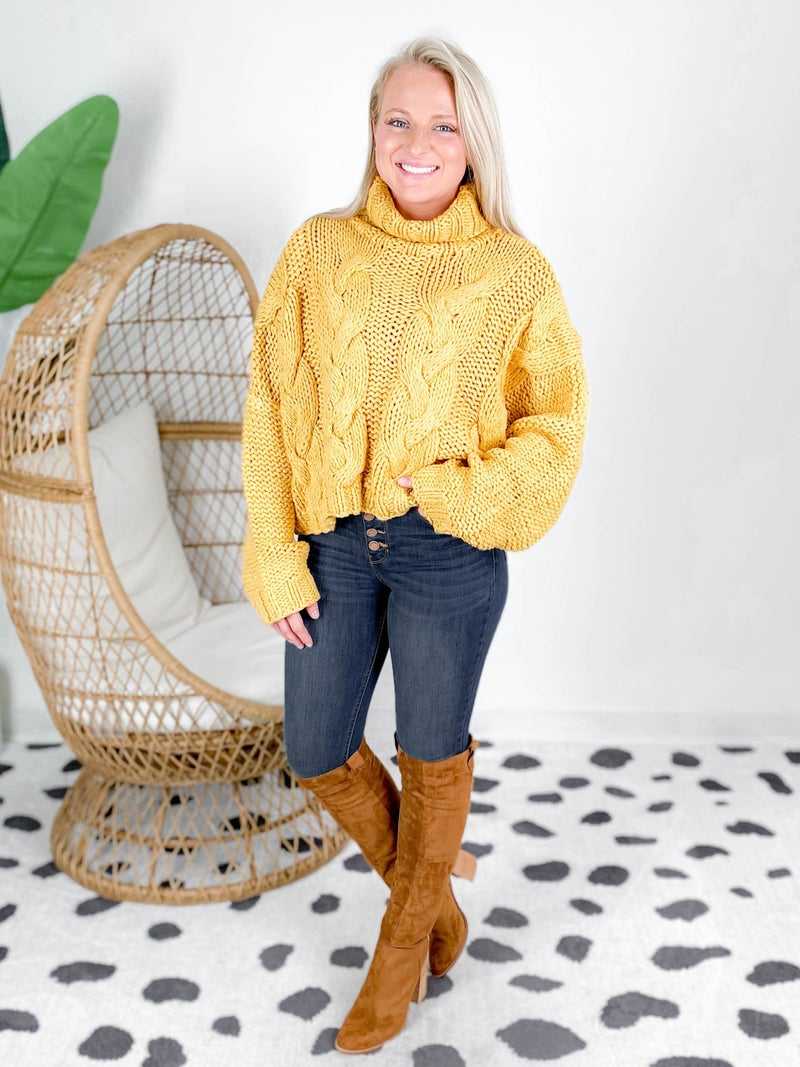 POL Cropped Turtleneck Cableknit Sweater (Multiple Colors)