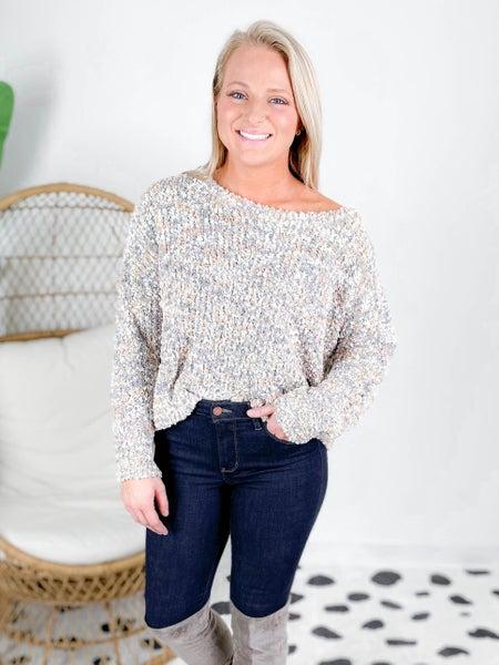 POL Grey Confetti Knit Sweater