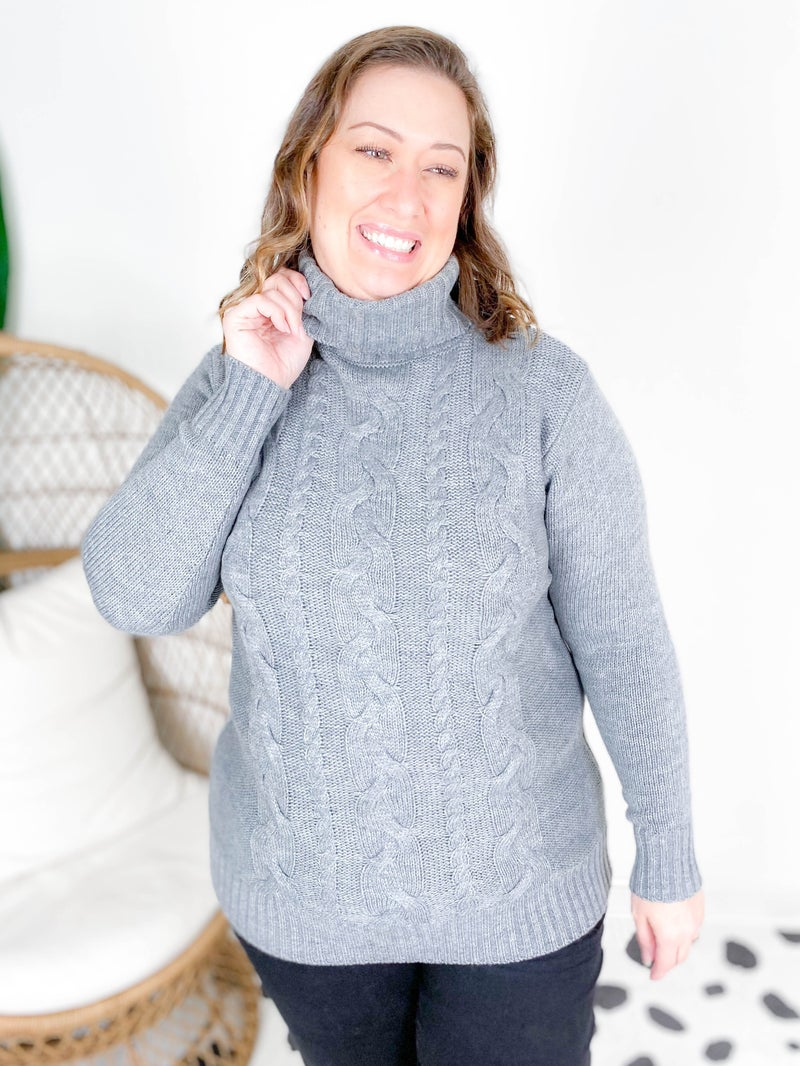 Doorbuster! Zenana Cableknit Turtleneck Sweater (Multiple Colors)