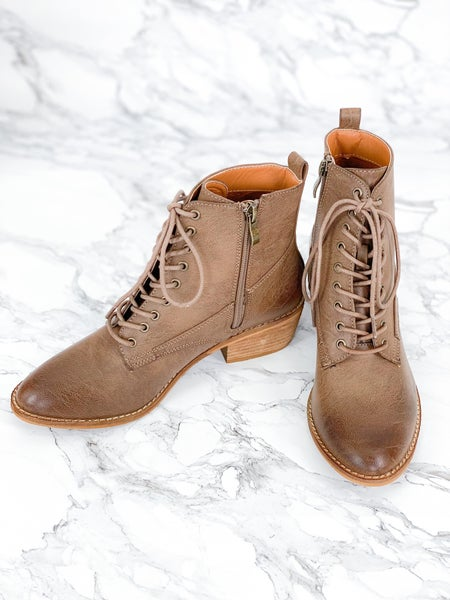 Brown Side Zip Lace up Boot