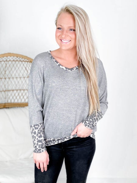 PLUS/REG Honeyme Glittery Top With Leopard Trim