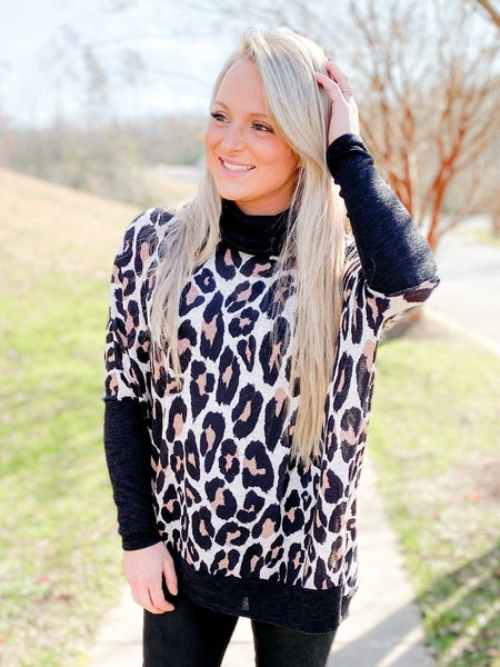 Leopard High Low Poncho Top